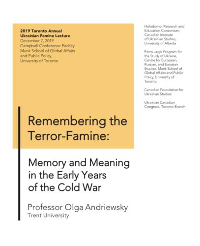 Main image 2019 Toronto Annual Ukrainian Famine Lecture by Olga Andriewsky