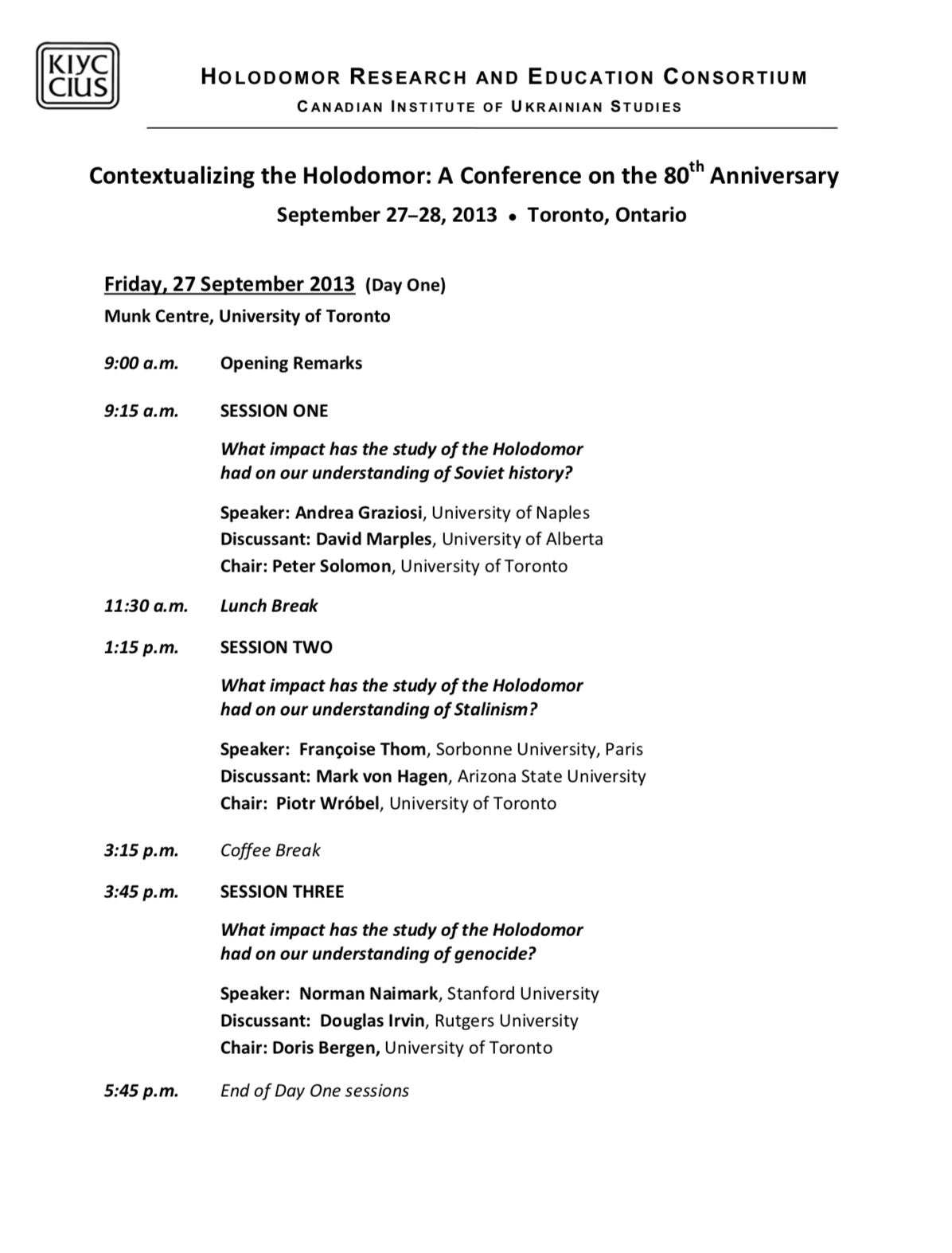 Contextualizing the Holodomor: A Conference on the 80th Anniversary of the 1932-1933 Famine in Ukraine