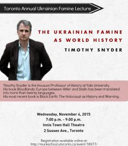 2015 Toronto Annual Ukrainian Famine Lecture by Timothy Snyder