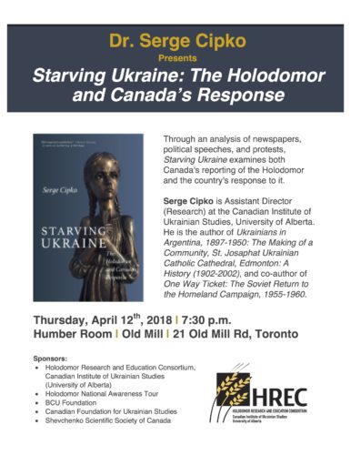 "Main image Launch of Serge Cipko's book ""Starving Ukraine: The Holodomor and Canada's Response"""